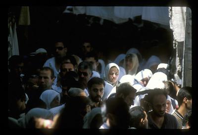Crowd after Friday prayers, old city of Jerusalem.