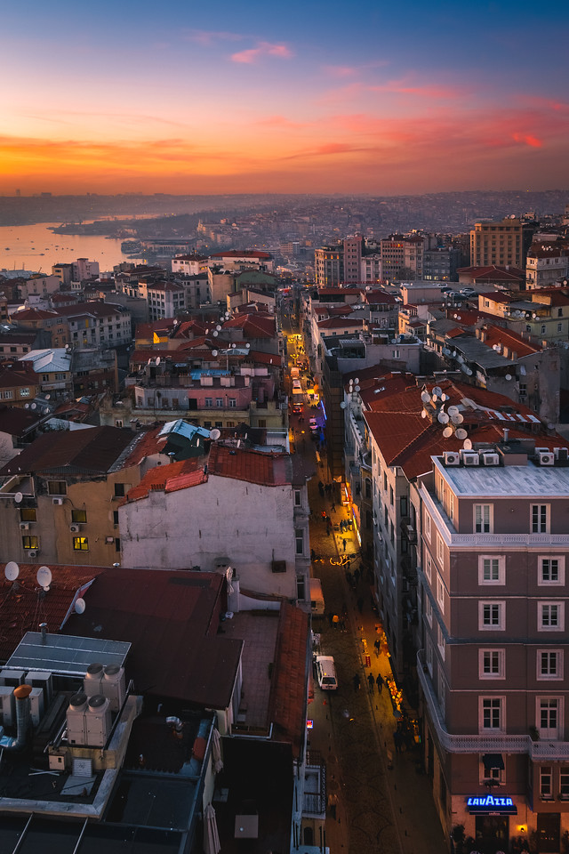 Looking down a street in Istanbul, Turkey.