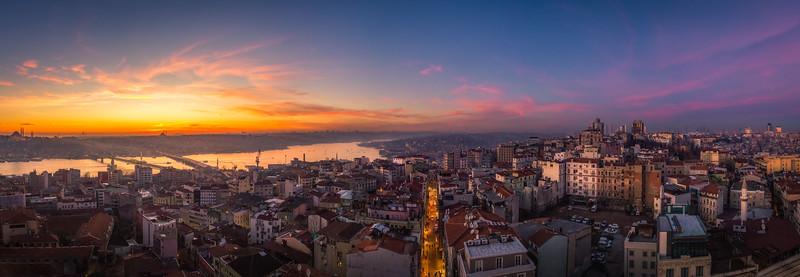 Panorama overlooking Istanbul Turkey.