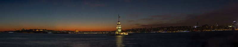 Panorama of the Bosphorus looking at the Maiden's Tower.