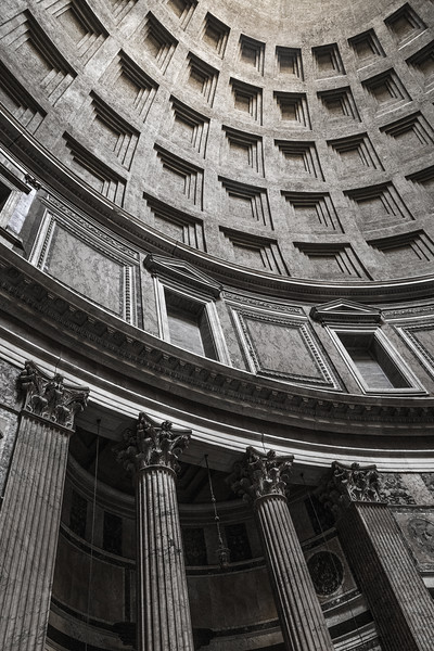 Interior architecture of the Pantheon in Rome, Italy.