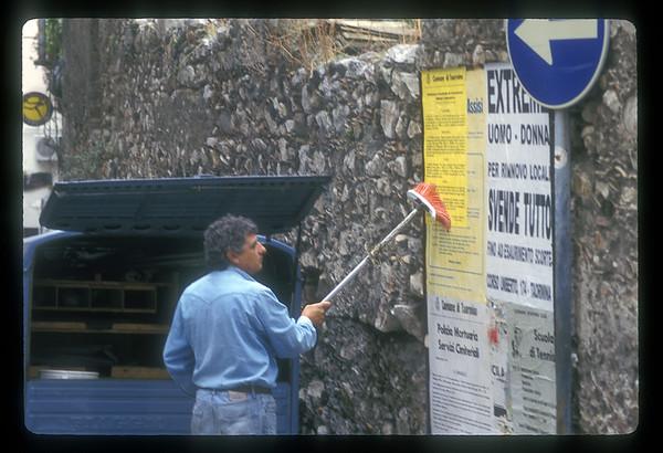 Advertising billboards, Sicily, Italy.