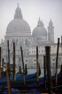 Cathedral di San Giorgio Maggiore and gondolas, Venice, Italy.
