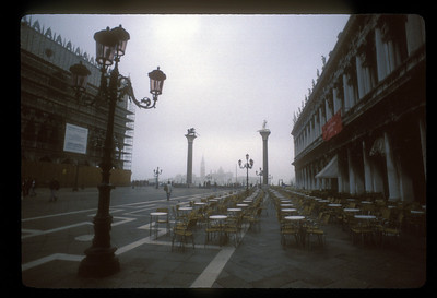 Terrace cafe at the edge of Piazza San Marco, Venice, Italy.