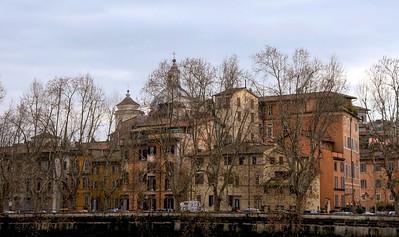 Street scene along the Tiber River, Rome, Italy.