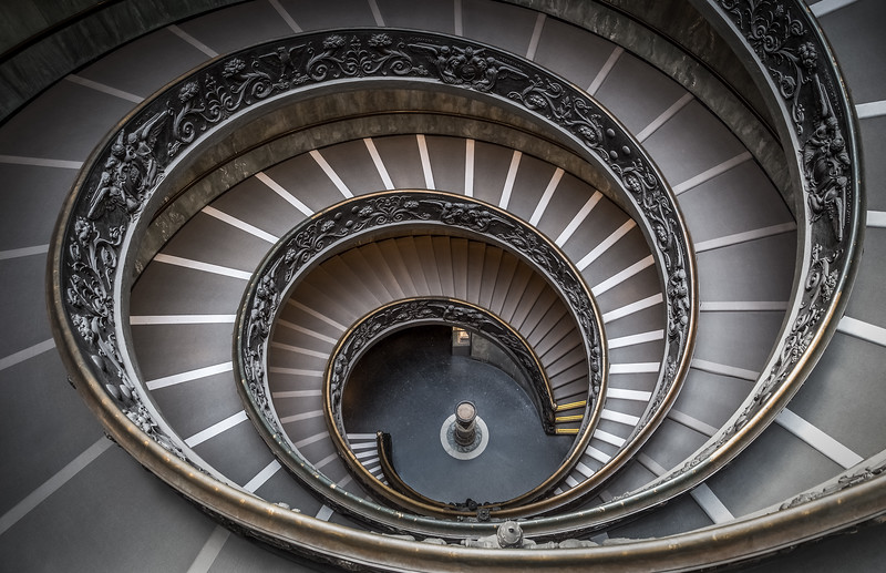 The stairs in the Vatican make for a great photo when its empty. This photo is actually 15 images blended together to remove the people that were on the stairs.