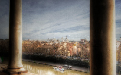 Rome, Italy from Castel SantAngelo. HDR on canvas.