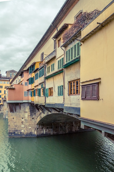 Windows along a bridge in Florence, Italy