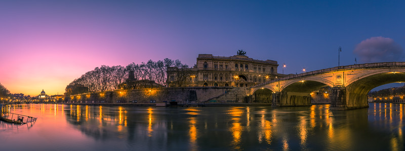 Panorama of the Tiber River looking down at the Vatican.