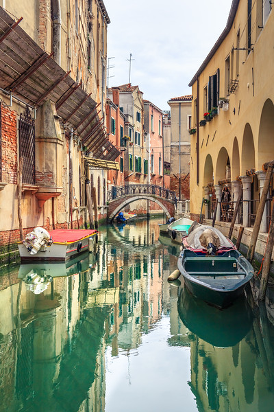The reflections of the Venice canal.