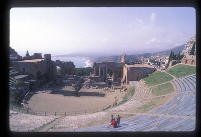 Ruins of Greco Roman theatre near Taormina, Italy.