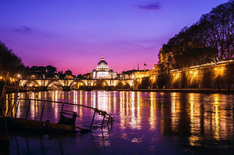 Looking down the River Tiber at the Vatican during blue hour.