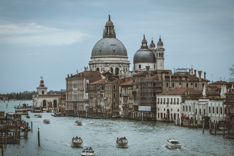 Looking across the canal at Basilica di Santa Maria della Salute in Venice, Italy.