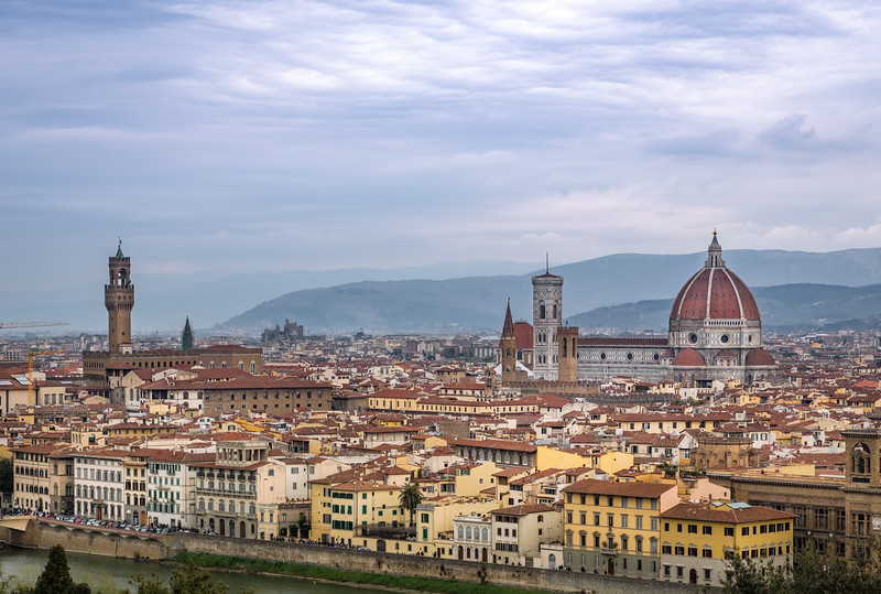 The Cattedrale di Santa Maria del Fiore towering over the city of Florence.