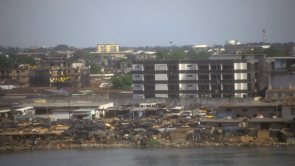 Across intra coastal waterway, Abidjan, Ivory Coast.