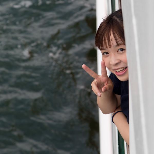 Friendly girl on the ferry to Miyajima