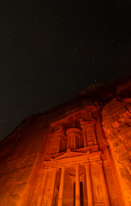 The Treasury (Al Khazneh) In Petra Light By Hundreds Of Candles Under A Canopy Of Stars, Petra, Jordan
