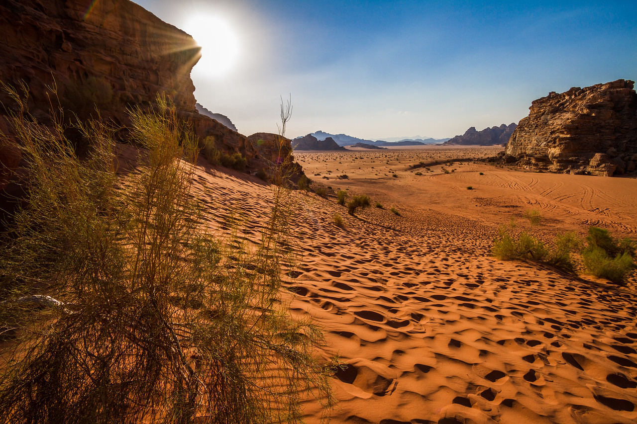 The sun prepares to set in the Wadi Rum desert of Jordan.