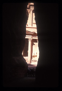 The Treasury buiding at the end of the road to the ancient ruins of Petra, Jordan.