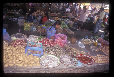 Outdoor market, rural Laos.