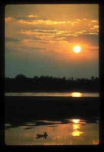Sunset over the Mekong river, Vientiane, Laos.