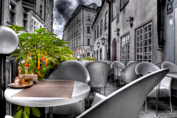 HDR: Fine Terrace Dining, Riga, Latvia.