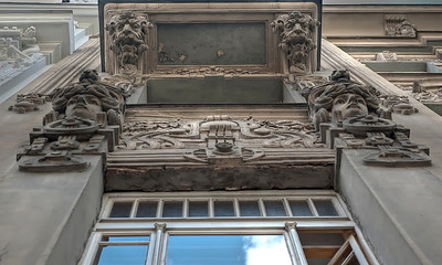 Detail of Art Nouveau architecture, Riga, Latvia.