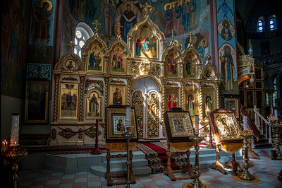 Detail of the iconostasis at Riga, Latvia's Nativity of Christ Orthodox Cathedral.