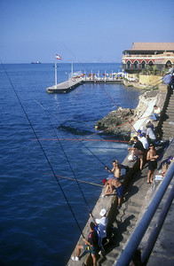 Fishing along Beirut, Lebanon's waterfront.