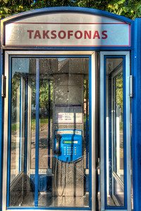 Telephone booth, Vilnius, Lithuania.