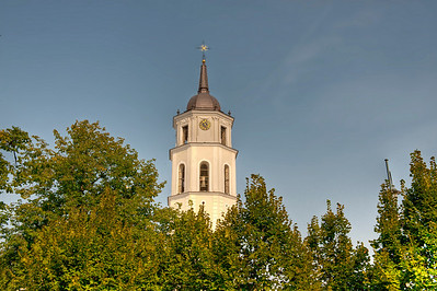 Spire of the Roman Catholic Cathedral of Vilnius, Lithuania.