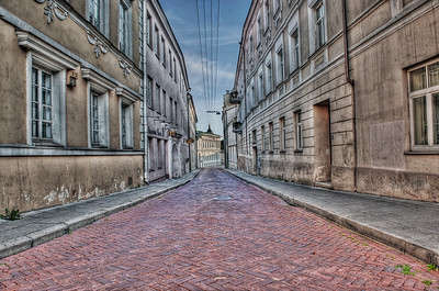HDR: Alleyway in old town Vilnius, Lithuania.