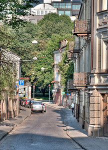 A bright Saturday morning in Vilnius, Lithuania.