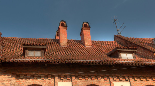HDR: Chimneys in old town Vilnius, Lithuania.