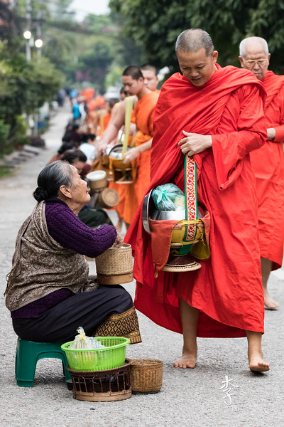 Tak Bat - Morning collection of food by the Buddhist monks in Luang Prabang.  The Monks leave the monasteries early in the morning in a silent line collecting food.