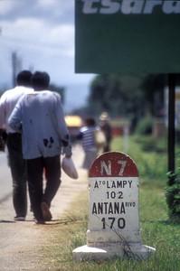 Road sign on the N 7 highway, rural Madagascar.