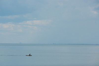 Rowing across Lake Malawi.