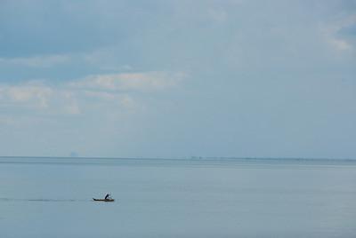 Rowing across Lake Malawi.