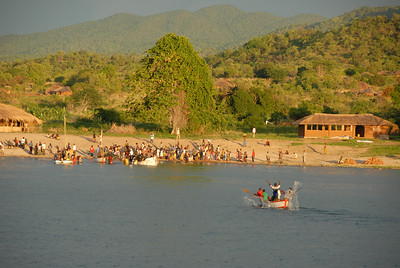 Cobue village, Mozambique, from MV Ilala, Lake Malawi.