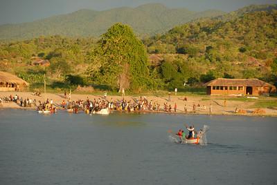 Cobue village, Mozambique, from MV Ilala, Lake Malawi.