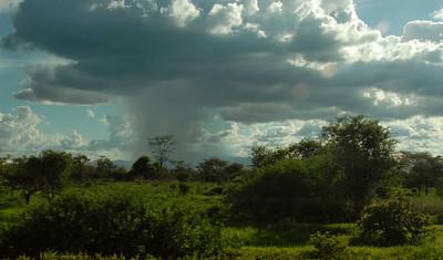 A passing rain shower, rural Malawi.