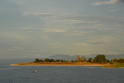 Canoe off Cobue village, Mozambique, from MV Ilala, Lake Malawi.