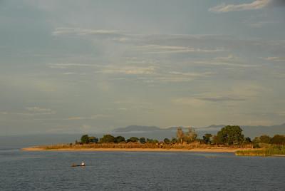 Canoe off Cobue village, Mozambique, from MV Ilala, Lake Malawi.