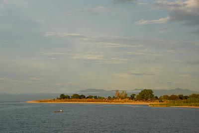 Sunset near Cobue village, Mozambique, from MV Ilala, Lake Malawi.