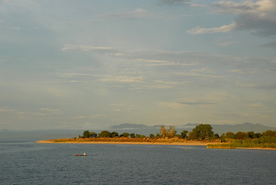 Sunset near Cobue village, Mozambique, from MV Ilala, Lake Malawi.