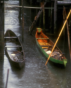 Boats moored in stilt village, Sabah province, north coast of Malaysian Borneo.