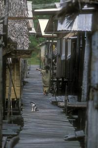 Stilt village, Sabah province, Malaysian Borneo.