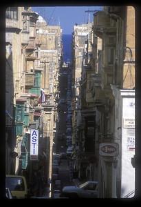 Narrow street to the sea, Valetta, Malta.