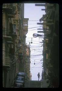 Narrow street in downtown Valetta, Malta.