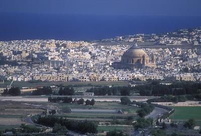 The Mosta Dome and the Mediterranean Sea, Malta.